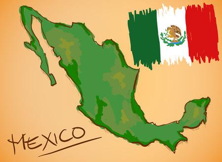 メキシコ地図と国旗ベクトル  イラスト・ベクター素材