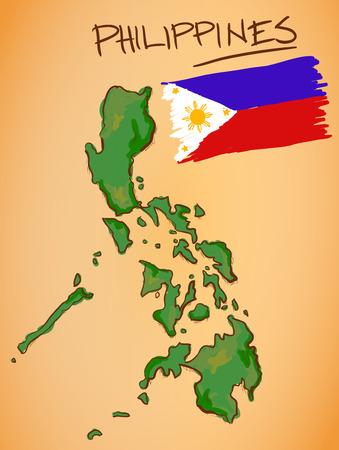 フィリピン地図と国旗ベクトル  イラスト・ベクター素材