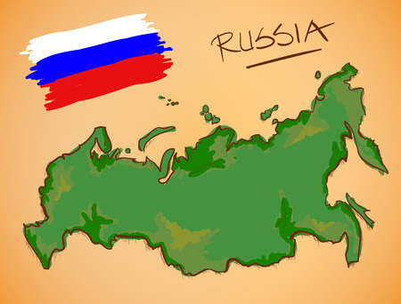 russland karte: Russia Map and National Flag Vector Illustration