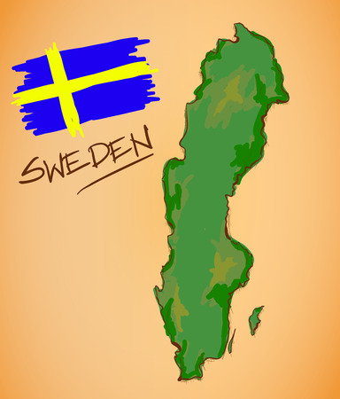 sweden map: Sweden Map and National Flag Vector