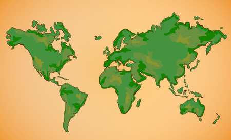World Map Vector Digital Painting