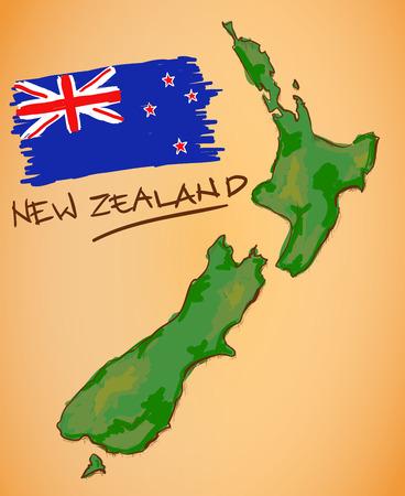 bandera de nueva zelanda: Nueva Zelanda mapa y la bandera nacional de vectores