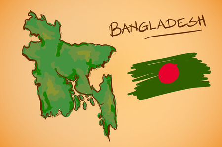 Bangladesh Map and National Flag Vector