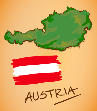 austria map: Austria Map and National Flag Vector Illustration