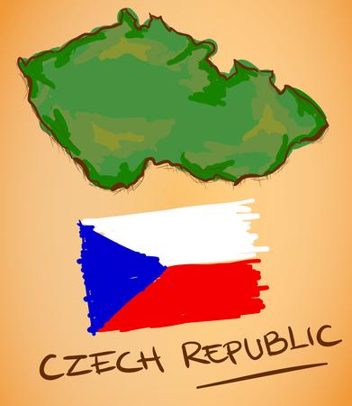 czech: Czech Republic Map and National Flag Vector
