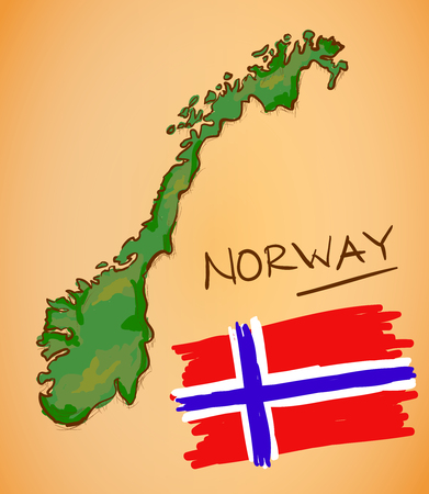 norway: Norway Map and National Flag Vector