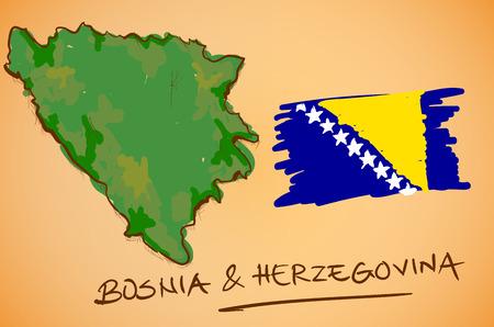 herzegovina: Bosnia & Herzegovina Map and National Flag Vector Illustration