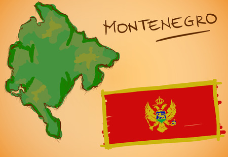Montenegro Map and National Flag Vector Illustration