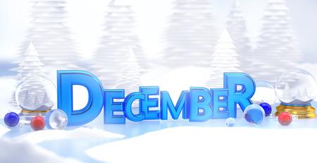 december: December Typography 3D Winter Landscape