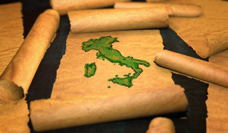 unfolding: Italy Map Painting Unfolding Old Paper Scroll 3D