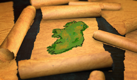unfolding: Ireland Map Painting Unfolding Old Paper Scroll 3D