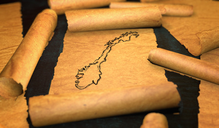 unfolding: Norway Map Drawing Unfolding Old Paper Scroll 3D Stock Photo