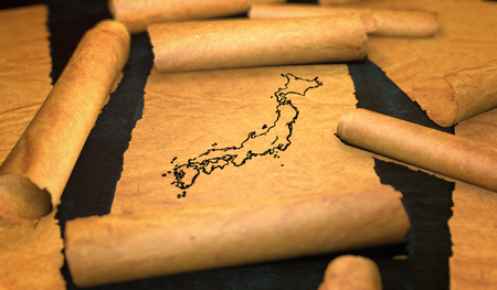 unfolding: Japan Map Drawing Unfolding Old Paper Scroll 3D