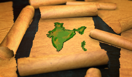 unfolding: India Map Painting Unfolding Old Paper Scroll 3D