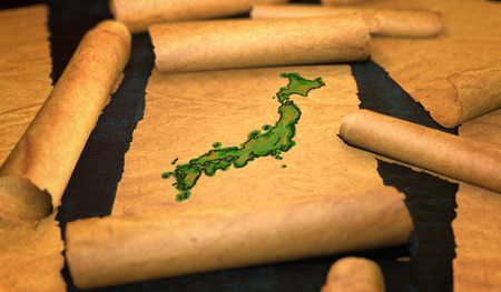 unfolding: Japan Map Painting Unfolding Old Paper Scroll 3D