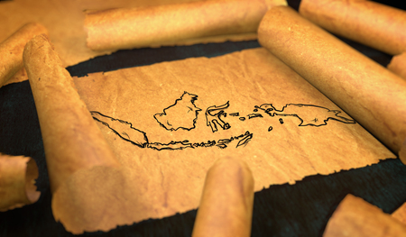 unfolding: Indonesia Map Drawing Unfolding Old Paper Scroll 3D