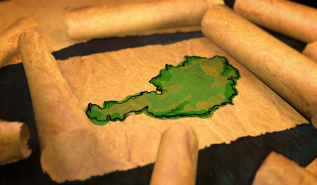 unfolding: Austria Map Painting Unfolding Old Paper Scroll 3D Stock Photo