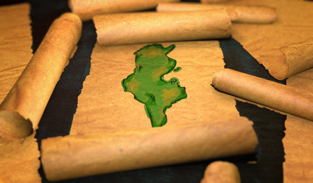 unfolding: Tunisia Map Painting Unfolding Old Paper Scroll 3D Stock Photo