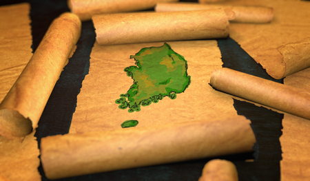 unfolding: South Korea Map Painting Unfolding Old Paper Scroll 3D