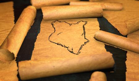 unfolding: Kenya Map Drawing Unfolding Old Paper Scroll 3D