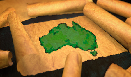 unfolding: Australia Map Painting Unfolding Old Paper Scroll 3D