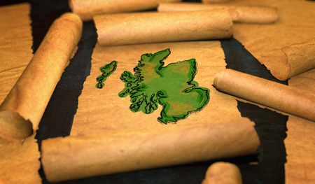 unfolding: Scotland Map Painting Unfolding Old Paper Scroll 3D