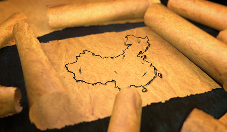 unfolding: China Map Drawing Unfolding Old Paper Scroll 3D Stock Photo