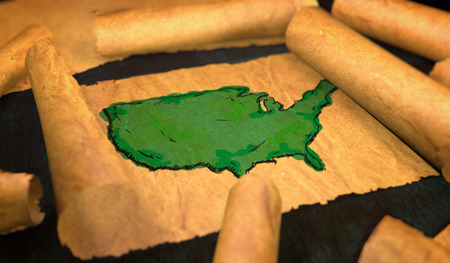 unfolding: America Map Painting Unfolding Old Paper Scroll 3D