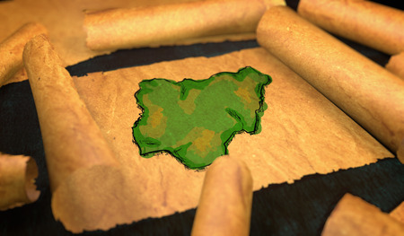 unfolding: Nigeria Map Painting Unfolding Old Paper Scroll 3D