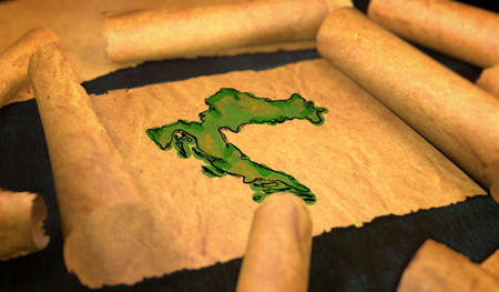 unfolding: Croatia Map Painting Unfolding Old Paper Scroll 3D