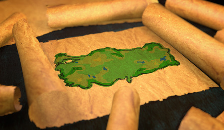 unfolding: Turkey Map Painting Unfolding Old Paper Scroll 3D
