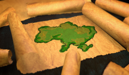 unfolding: Ukraine Map Painting Unfolding Old Paper Scroll 3D Stock Photo