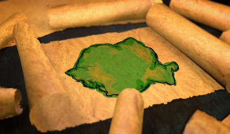 unfolding: Romania Map Painting Unfolding Old Paper Scroll 3D Stock Photo