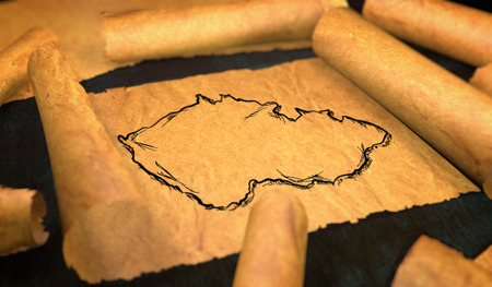 unfolding: Czech Republic Map Drawing Unfolding Old Paper Scroll 3D