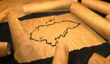 unfolding: Honduras Map Drawing Unfolding Old Paper Scroll 3D Stock Photo