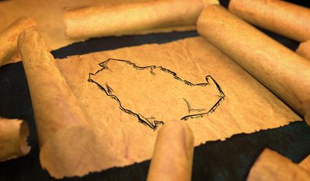 unfolding: Saudi Arabia Map Drawing Unfolding Old Paper Scroll 3D