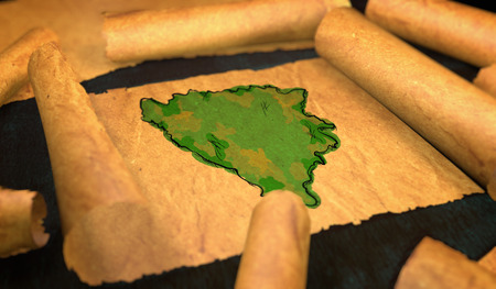 unfolding: Bosnia and Herzegovina Map Painting Unfolding Old Paper Scroll 3D Stock Photo