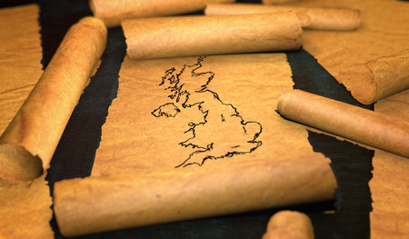 unfolding: Britain UK Map Drawing Unfolding Old Paper Scroll 3D Stock Photo