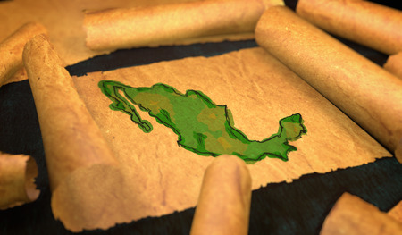 unfolding: Mexico Map Painting Unfolding Old Paper Scroll 3D Stock Photo