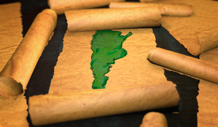 unfolding: Argentina Map Painting Unfolding Old Paper Scroll 3D Stock Photo