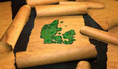 unfolding: Denmark Map Painting Unfolding Old Paper Scroll 3D