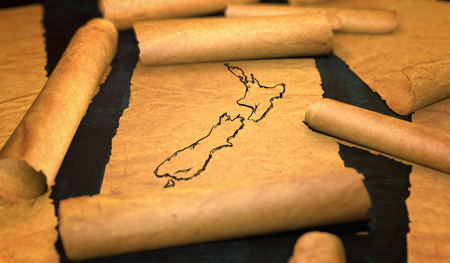 unfolding: New Zealand Map Drawing Unfolding Old Paper Scroll 3D