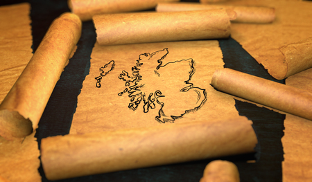 unfolding: Scotland Map Drawing Unfolding Old Paper Scroll 3D