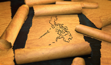 unfolding: Philippines Map Drawing Unfolding Old Paper Scroll 3D