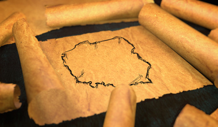 unfolding: Poland Map Drawing Unfolding Old Paper Scroll 3D