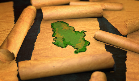 unfolding: Serbia Map Painting Unfolding Old Paper Scroll 3D Stock Photo