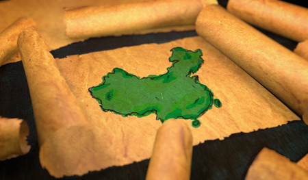unfolding: China Map Painting Unfolding Old Paper Scroll 3D