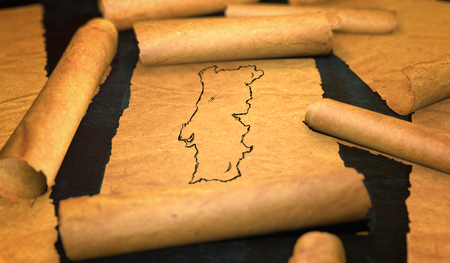 unfolding: Portugal Map Drawing Unfolding Old Paper Scroll 3D