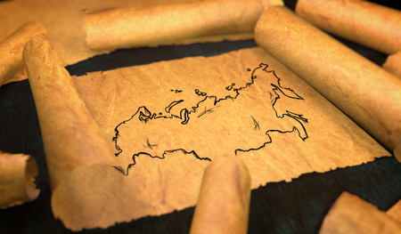unfolding: Russia Map Drawing Unfolding Old Paper Scroll 3D