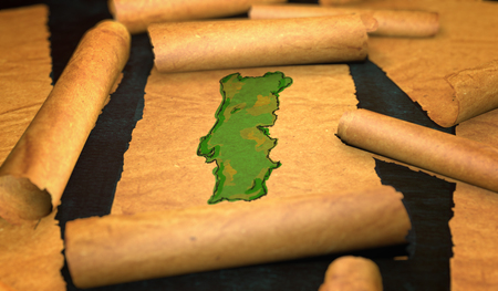 unfolding: Portugal Map Painting Unfolding Old Paper Scroll 3D